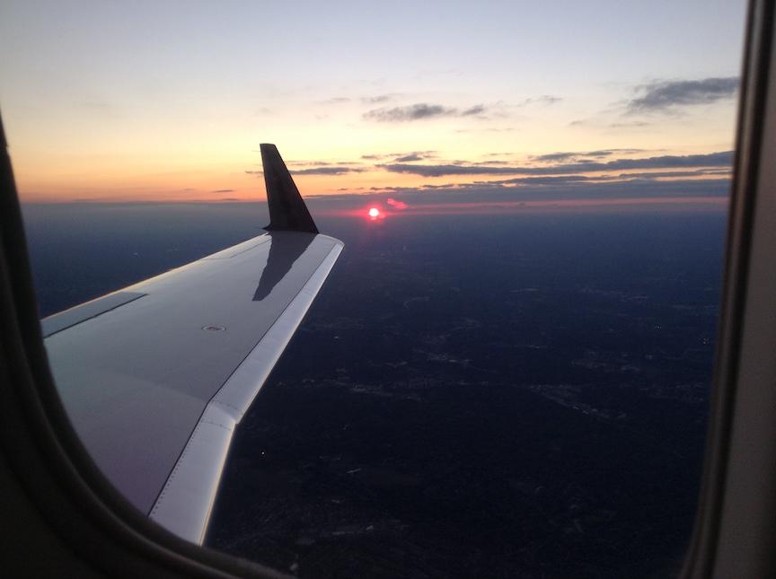 Private Jet Sunset Window
