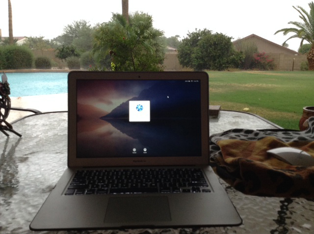 13-inch Macbook Air outdoors