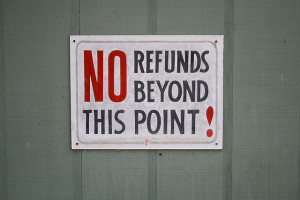 No refunds sign